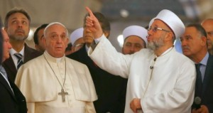 Francis prayed alongside the Grand Mufti of Istanbul, Rahmi Yaran, in the 17th-century Sultan Ahmet mosque - See more at: http://pamelageller.com/2014/11/pope-prays-in-istanbul-mosque-in-new-outreach-prays-facing-mecca.html/#sthash.NdWpje17.NIY2ZyD8.dpuf